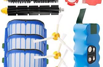 batería de Repuesto para irobot roomba + Kit cepillos repuestos de Accesorios para iRobot Roomba Serie 600